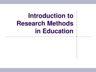 Introduction to Research Methodologies and Internal Validity