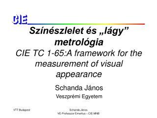 """Színészlelet és """"lágy"""" metrológia CIE TC 1-65:A framework for the measurement of visual appearance"""