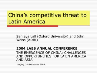 China's competitive threat to  Latin America