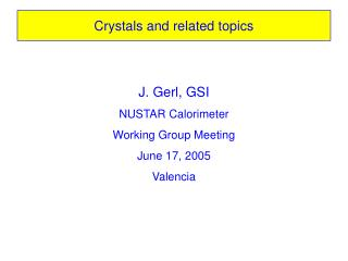 Crystals and related topics
