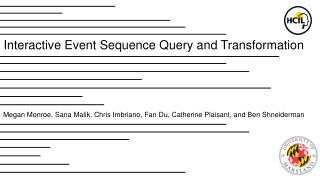 Interactive Event Sequence Query and Transformation