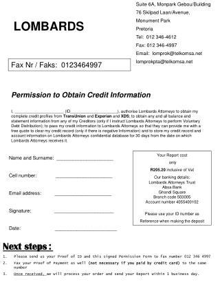 Fax Nr / Faks:  0123464997