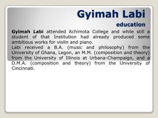 Gyimah Labi education