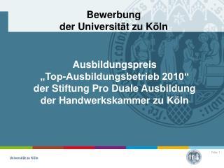 Bewerbung der Universität zu Köln