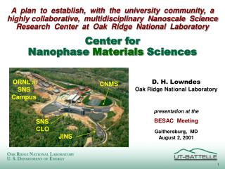 Center for Nanophase  Materials  Sciences