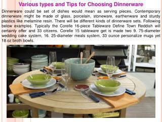 Various types and Tips for Choosing Dinnerware