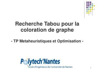 Recherche Tabou pour la coloration de graphe - TP Metaheuristiques et Optimisation -