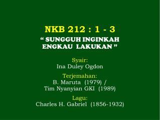 NKB 212 : 1 - 3