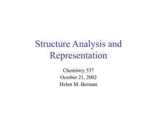 Structure Analysis and Representation