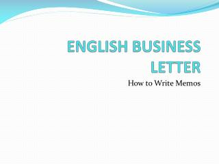 ENGLISH BUSINESS LETTER