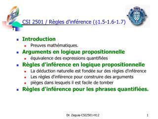 CSI 2501 / R ègles d'inférence  ( §1.5-1.6-1.7)