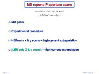 MD report: IP aperture scans