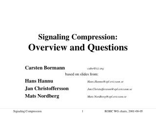 Signaling Compression: Overview and Questions