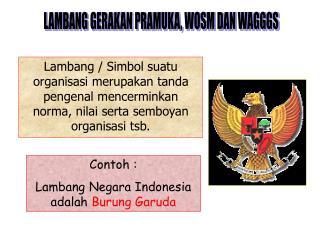 Contoh :  Lambang Negara Indonesia adalah  Burung Garuda