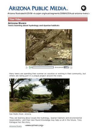 Arizona Illustrated 6/25/08 <tv.azpm/kuat/segments/2008/6/25/kuat-arizona-rivers/>