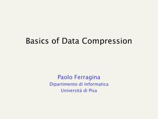 Basics of Data Compression