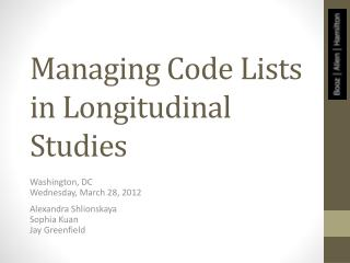 Managing Code Lists in Longitudinal Studies