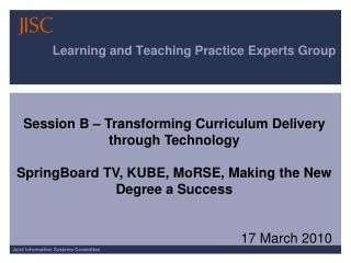 Learning and Teaching Practice Experts Group