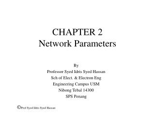 CHAPTER 2 Network Parameters