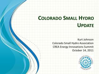 Colorado Small Hydro Update