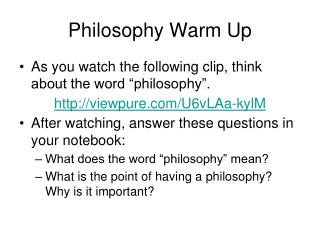Philosophy Warm Up