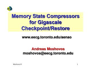 Memory State Compressors for Gigascale Checkpoint/Restore