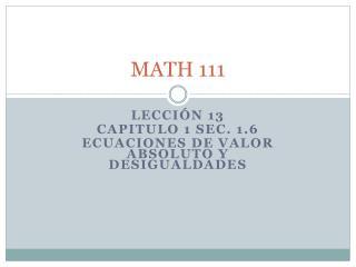 MATH 111