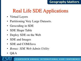 Real Life SDE Applications