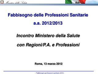 Fabbisogno delle Professioni Sanitarie a.a. 2012/2013 Incontro Ministero della Salute
