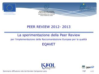 Seminario diffusione rete territoriale Campania-Lazio         FdP         1/13