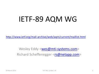 IETF-89 AQM WG