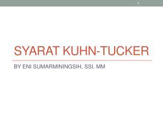 SYARAT KUHN-TUCKER