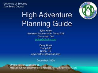High Adventure Planning Guide
