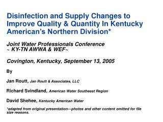 Joint Water Professionals Conference                         ~ KY-TN AWWA & WEF~