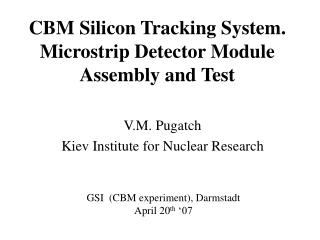 CBM Silicon Tracking System. Microstrip Detector Module  Assembly and Test