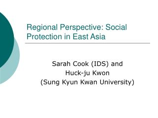 Regional Perspective:  Social Protection in East Asia