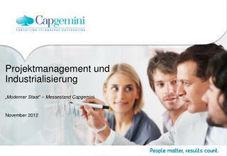 """Projektmanagement und Industrialisierung """"Moderner Staat"""" – Messestand Capgemini"""