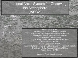 International Arctic System for Observing the Atmosphere (IASOA)