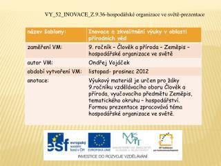 VY_52_INOVACE_Z.9.36-hospodářské  organizace ve světě-prezentace