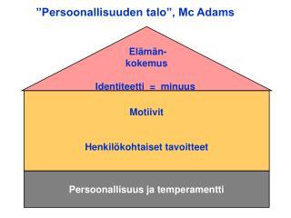 """""""Persoonallisuuden talo"""", Mc Adams"""