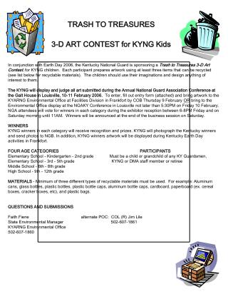 TRASH TO TREASURES  3-D ART CONTEST for KYNG Kids