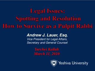 Legal Issues:  Spotting and Resolution  How to Survive as a Pulpit Rabbi