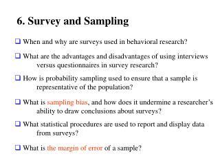 6. Survey and Sampling