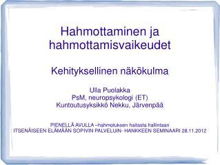 Hahmottaminen ja hahmottamisvaikeudet Kehityksellinen näkökulma Ulla Puolakka