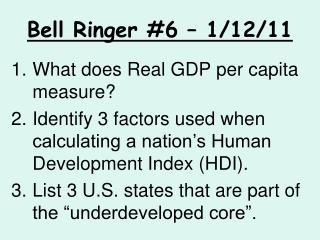 Bell Ringer #6 – 1/12/11