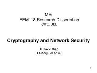 MSc EEM118 Research Dissertation CITE, UEL