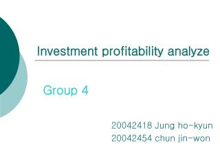 Investment profitability analyze