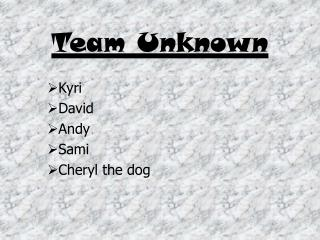 Team Unknown
