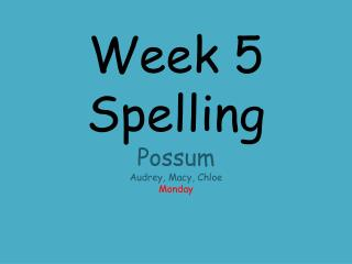 Week 5 Spelling Possum Audrey, Macy, Chloe Monday