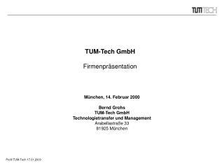 TUM-Tech GmbH Firmenpräsentation